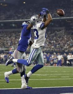 New York Giants cornerback Dominique Rodgers-Cromartie (41) is called for pass interferance against Dallas Cowboys wide receiver Terrance Williams (83) during the second half of an NFL football game Sunday, Sept. 13, 2015, in Arlington, Texas. (AP Photo/Brandon Wade)