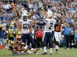 SAN DIEGO, CA - OCTOBER 04: Josh Lambo #2 of the San Diego Chargers celebrates with his teammates after hitting the game winning field goal, as Johnson Bademosi #24 of the Cleveland Browns looks on from the ground at Qualcomm Stadium on October 4, 2015 in San Diego, California. The Chargers defeated the Browns 30-27. (Photo by Jeff Gross/Getty Images)