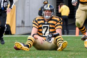 Pittsburgh Steelers quarterback Ben Roethlisberger (7) sits on the field after being knocked down after getting a pass away in the fourth quarter of an NFL football game against the Cincinnati Bengals, Sunday, Nov. 1, 2015, in Pittsburgh. The Bengals won 16-10. (AP Photo/Don Wright)