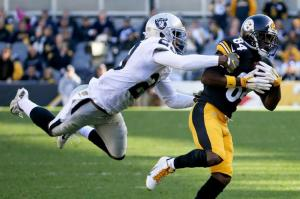 Pittsburgh Steelers wide receiver Antonio Brown (84) makes a catch past Oakland Raiders cornerback David Amerson (29) in the second quarter of an NFL football game , Sunday, Nov. 8, 2015, in Pittsburgh. (AP Photo/Gene J. Puskar)