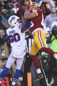 Washington Redskins tight end Jordan Reed (86) pulls in a touchdown pass under pressure form Buffalo Bills strong safety Bacarri Rambo (30) during the first half of an NFL football game in Landover, Md., Sunday, Dec. 20, 2015. (AP Photo/Andrew Harnik)