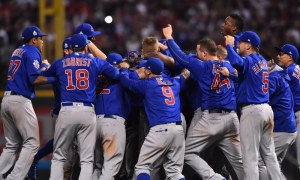 Nov 2, 2016; Cleveland, OH, USA; Chicago Cubs players celebrate on the field after defeating the Cleveland Indians in game seven of the 2016 World Series at Progressive Field. Mandatory Credit: Ken Blaze-USA TODAY Sports
